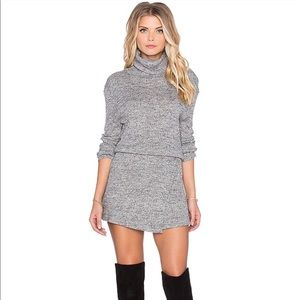 Free People By The Fire Cowl Neck Mini Dress Gray